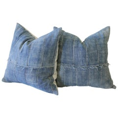 Pair of Vintage Faded African Mud Cloth Indigo Pillows with Original Frayed Edge