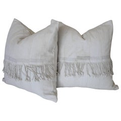 Pair of Creamy White African Mudcloth Pillows with Original Fringe Accents