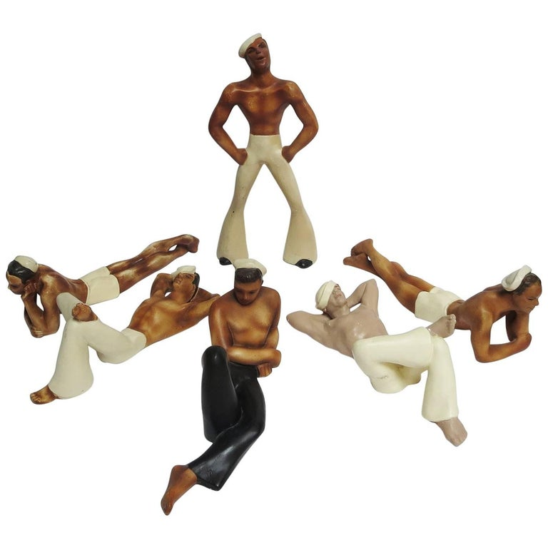 1950s Painted Chalkware Shirtless Sailors For Sale