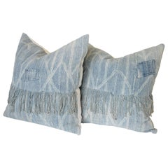 Pair of Faded Blue African Mudcloth Patchwork Pillow Shams with Fringe