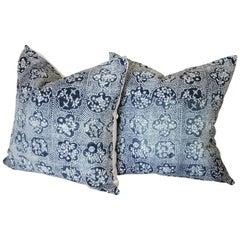 Pair of Vintage Blue Batik Japanese Indigo Floral Pillow Shams