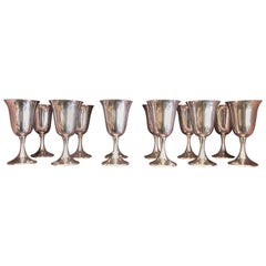 Set of 12 Estate American Sterling Silver Water Goblets, circa 1950