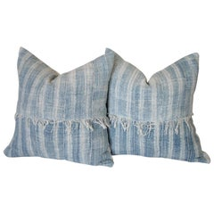 Pair of Antique Faded Blue Indigo Stripe African Mudcloth Pillows with Fringe