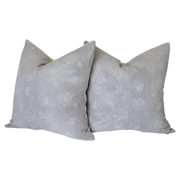 Pair of Gray Vintage Batik Accent Pillows