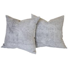 Pair of Gray Vintage Batik Style Accent Pillows