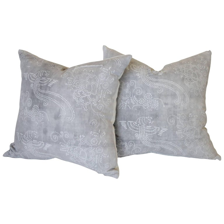 Pair of Gray Vintage Batik Style Accent Pillows For Sale