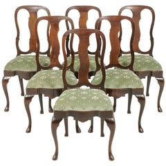 Set of Six Mahogany Queen Anne-Style Chairs