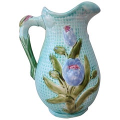 Majolica Flowers Pitcher Nimy Les Mons, circa 1900