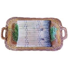 Majolica Asparagus Server Platter Salins, circa 1890