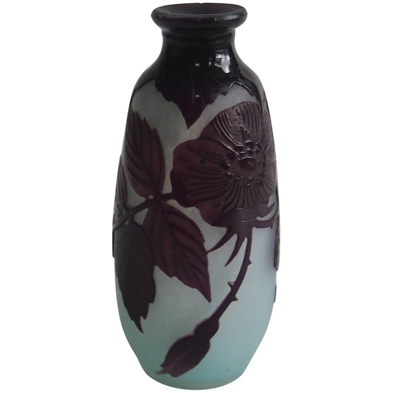 French Art Nouveau Andre Delatte Cameo Glass Vase For Sale