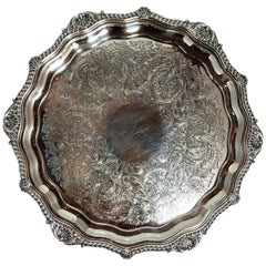 Antique English Silver Tray, Sheffield Silver-Plated Signed Barker Co