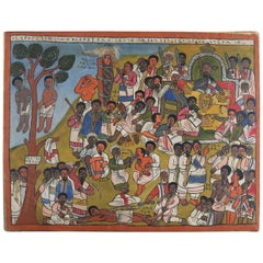 African Ethiopian Tribal Folk Art Oil on Hide Painting, 20th Century