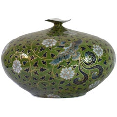 Contemporary Japanese Green Porcelain Decorative Vase by Master Artist