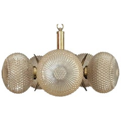 German Brass and Glass Sputnik Pendant Light Chandelier by Richard Essig