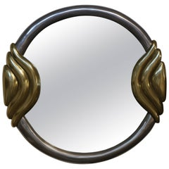 Metal-Clad 1980s Round Mirror