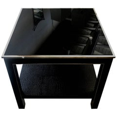 Faux Croc and Steel Table with Drawer