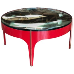 Ma+39's Custom Red and Brass Magnifying Lens Coffee Table