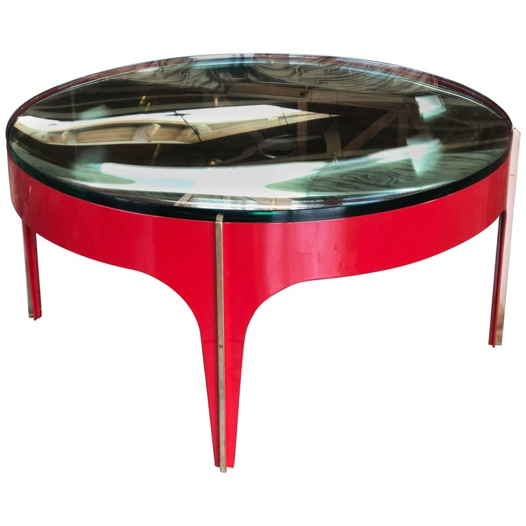 Ma+39's Custom Red and Brass Magnifying Lens Coffee Table For Sale