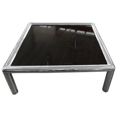 Signed John Mascheroni Aluminum Table with New Bronze Colored Glass