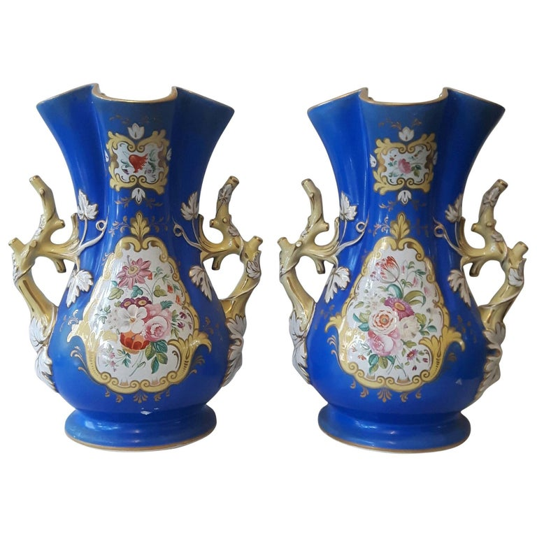 19th Century Pair of Decorative English Vases