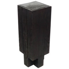 Arno Declercq Black Iroko Wood and Burned Steel Cross Stool or Side Table