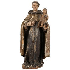 Polychromed Carved Hand Santos Figure of Saint Anthony with Christ Child
