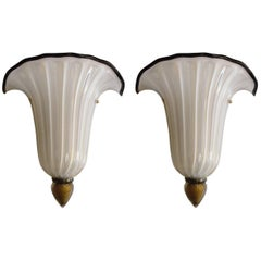 Pair of Shell Sconces by Barovier e Toso