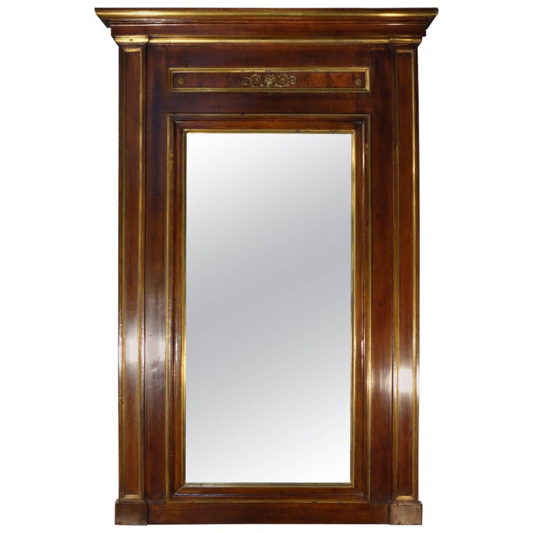 Early 19th Century Empire Walnut Framed Mirror with Gold Detail Circa 1820