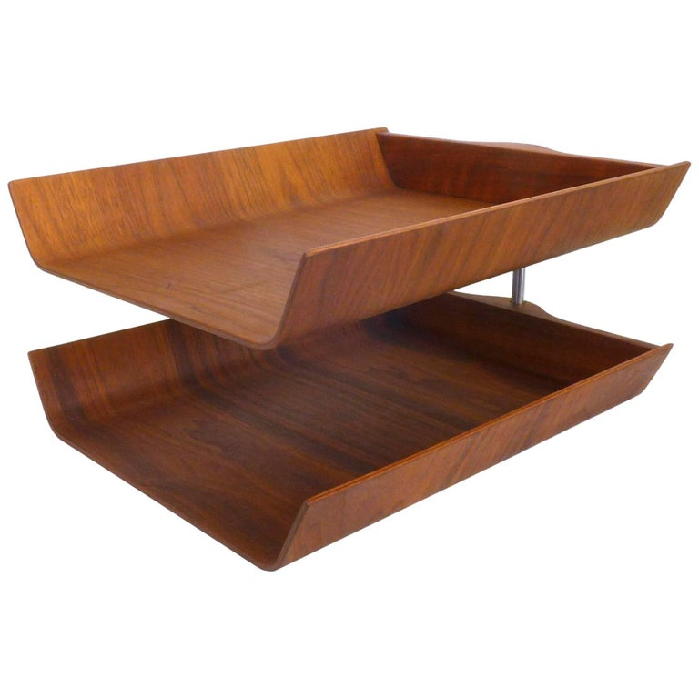 Molded Walnut Plywood Two-Tier Letter Tray by Florence Knoll For Sale