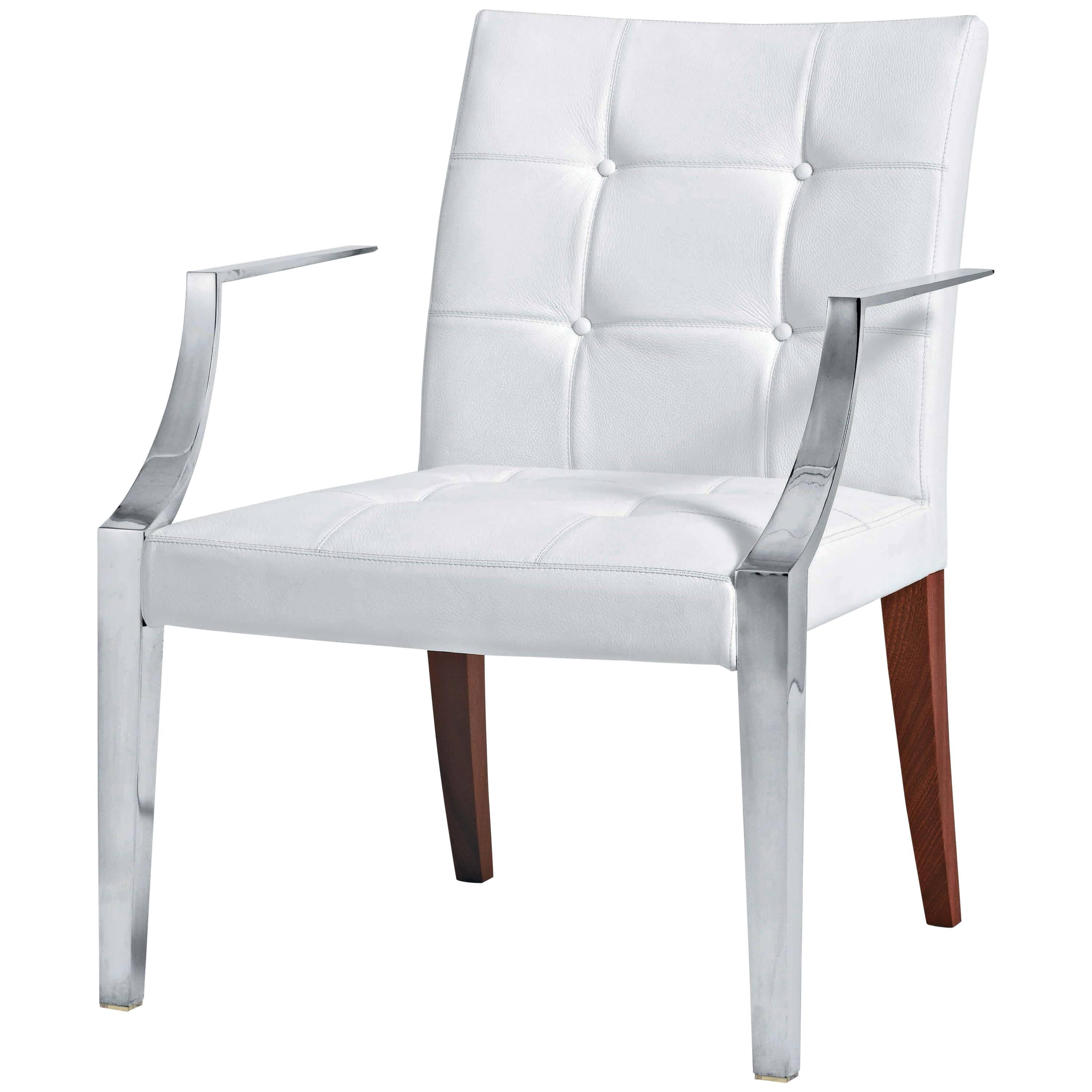 Armchair Monseigneur in White Leather Designed by Philippe Starck for Driade