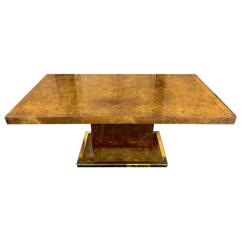 Milo Baughman Style Burl Wood Pedestal Dining Room Table