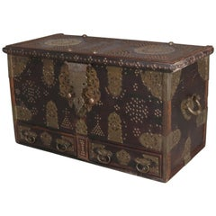 Antique Rosewood and Brass Turkish Marital Bride's Trunk, Early 19th Century