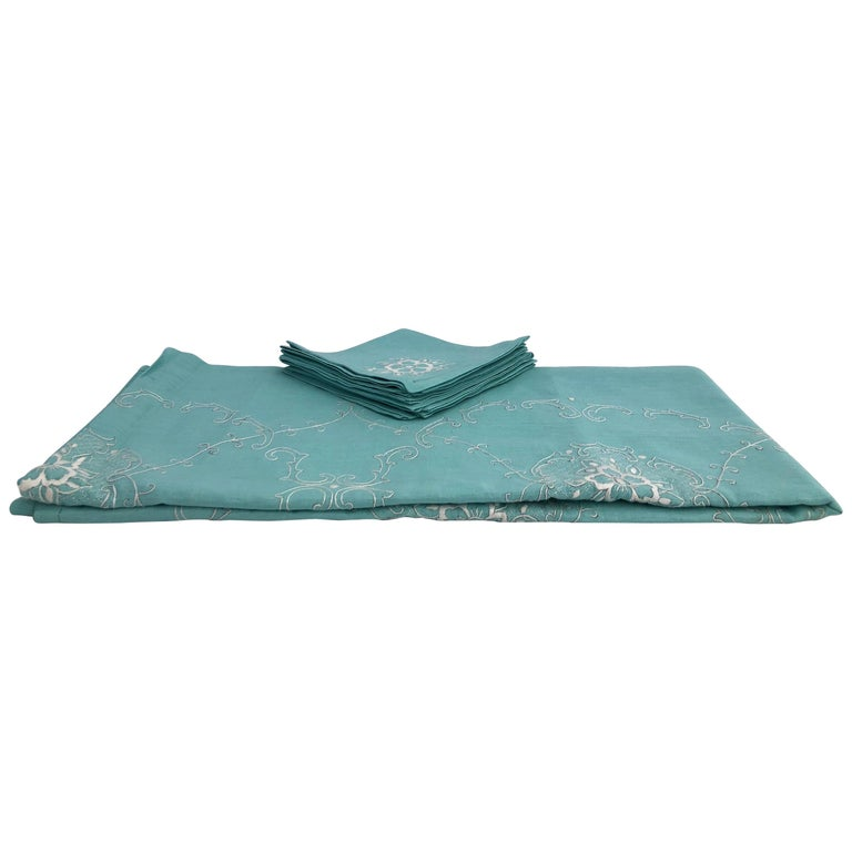 French Cotton Turquoise Tablecloth with Eight Matching Napkins