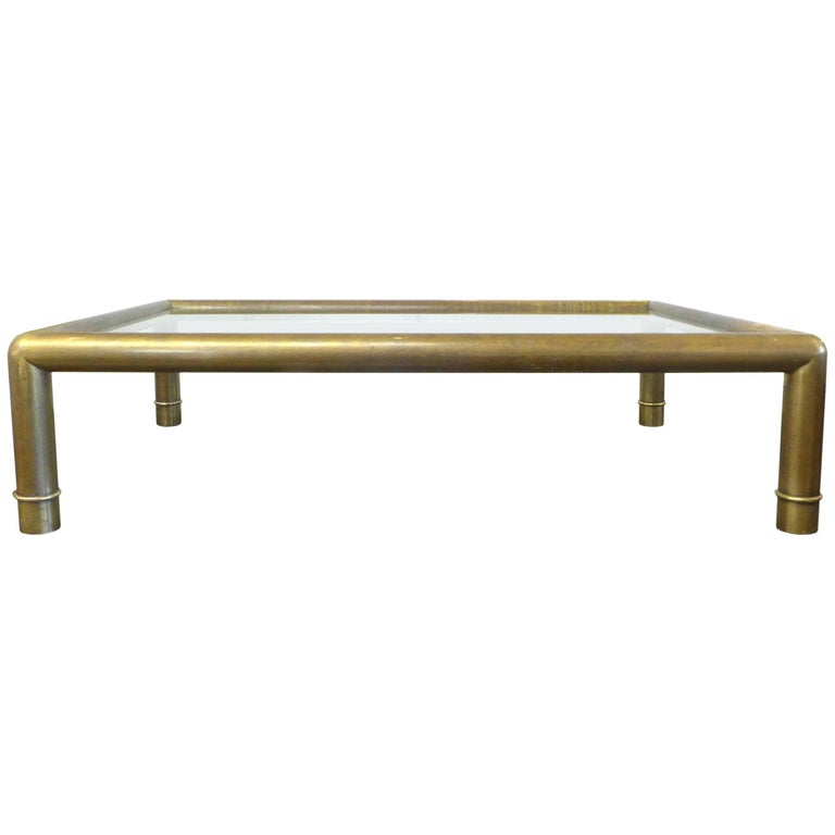 Brass and Glass Coffee Table by Mastercraft