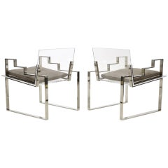Pair of Lucite and Chrome Lounge Chairs Hand Signed by Charles Hollis Jones 1984