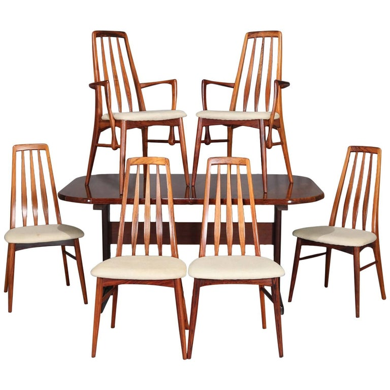 Midcentury Danish Modern Sculpted Rosewood Dining Table & Six Chairs, circa 1960