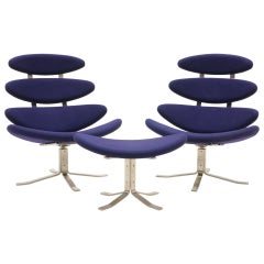 Pair Poul Volther Corona Chairs with Ottoman, Deep Blue Fabric and Solid Steel
