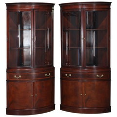 Two Baker School Flame Mahogany Cupboards by Fancher, NY 20th Century