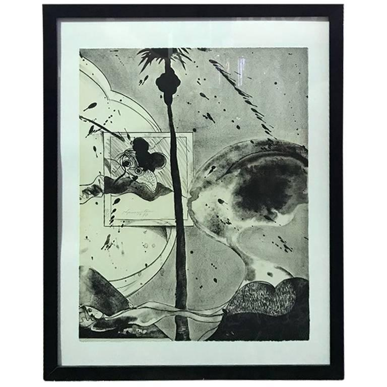 """Matsumi Kanemitsu Limited Edition Lithograph Print """"Hollywood Hills Ghost"""" For Sale"""