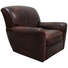 Antique French Style Aged Leather Lounge Chair