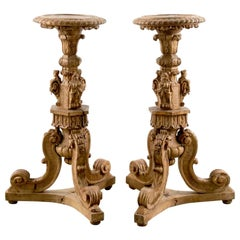 Pair of Baroque Style 18th Century Italian Carved Pedestals