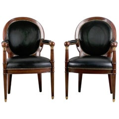 Two Neoclassic Mahogany Medallion Back Armchairs in Leather