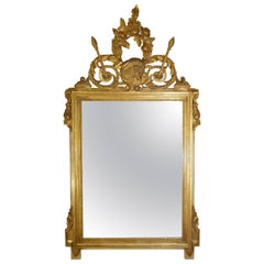 Antique Italian Louis XVI Gold Gilt and Bolo Finish Framed Mirror Circa 1920