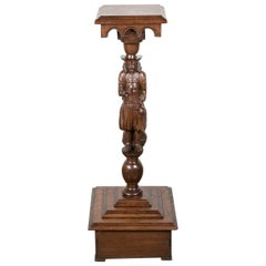 19th Century French Breton Carved Chestnut Figural Plant Stand