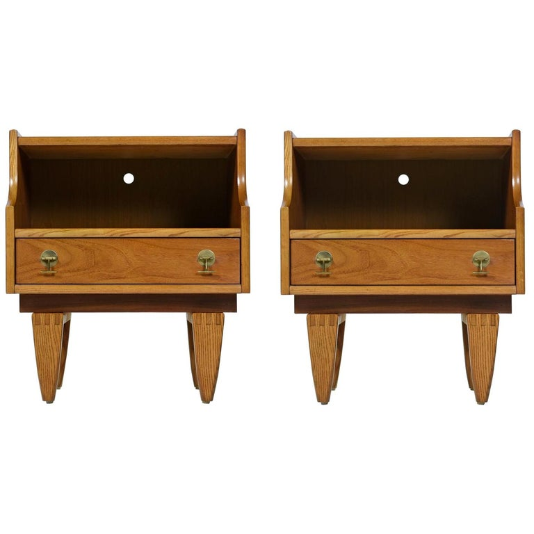 Teak Nightstand End Tables with Brass Hardware by Stanley, Mid-Century Modern For Sale