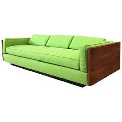 Vintage Milo Baughman-Style Expansive Walnut Case Sofa