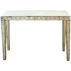 Mirrored Optical Faceted Glass Hollywood Regency Console, End-Table, 1950s