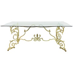 Brass and Glass Italian Console or Dining Table