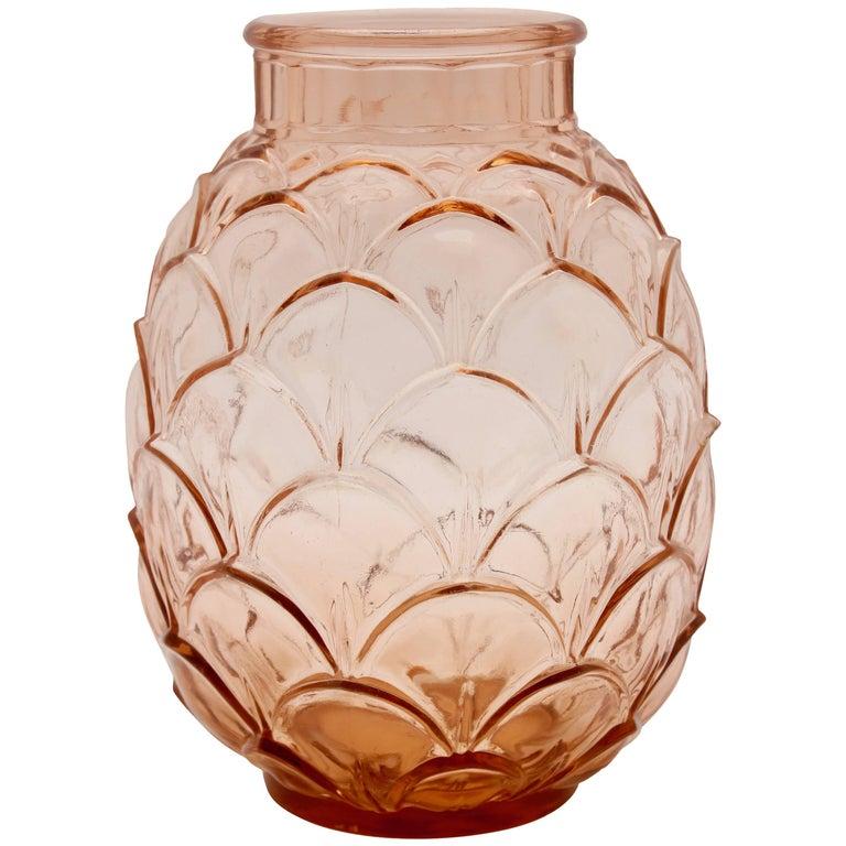 Extremely Rare Art Deco Antique Glass Vase Pineapple Saint Lambert / Luxval