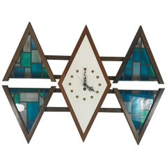 "Mid-Century Modern ""Diamond"" Wall Clock by Penthouse Art Creations"